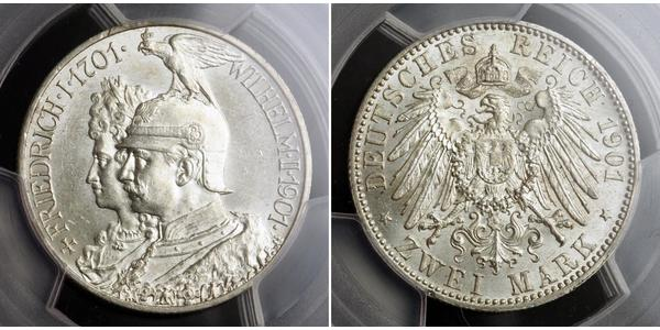 2 Mark Kingdom of Prussia (1701-1918) Silver Wilhelm II, German Emperor (1859-1941)