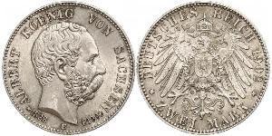 2 Mark Kingdom of Saxony (1806 - 1918) Silver Albert of Saxony