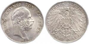 2 Mark Kingdom of Saxony (1806 - 1918) Silver George, King of Saxony