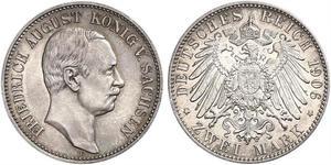 2 Mark Kingdom of Saxony (1806 - 1918) Silver Frederick Augustus III of Saxony (1865-1932)