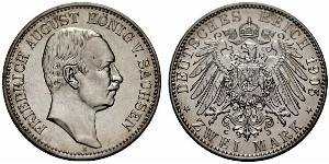 2 Mark Kingdom of Saxony (1806 - 1918) Silver Frederick Augustus III of Saxony (1865-1932)