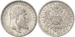 2 Mark Kingdom of Württemberg (1806-1918) Silver Wilhelm II, German Emperor (1859-1941)