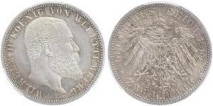 2 Mark Kingdom of Württemberg (1806-1918) Silver Wilhelm II, German Emperor (1859-1941)