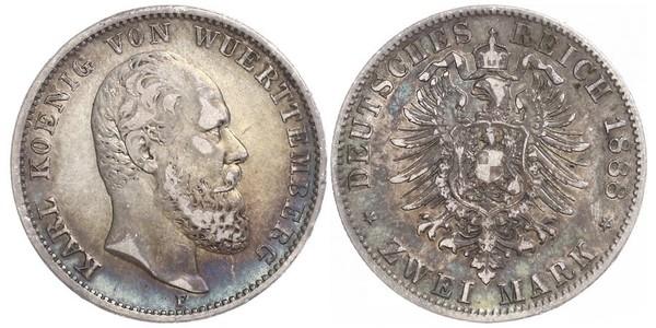 2 Mark Kingdom of Württemberg (1806-1918) Silver Charles I of Württemberg