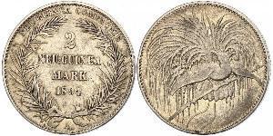 2 Mark New Guinea Silver