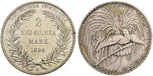 2 Mark New Guinea Silver