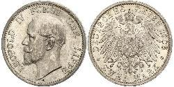 2 Mark Principality of Lippe (1123 - 1918) Silver Leopold IV, Prince of Lippe