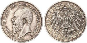 2 Mark Principality of Lippe (1123 - 1918) Silver Georg, Prince of Schaumburg-Lippe