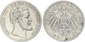 2 Mark Principality of Reuss-Greiz (1778 - 1918) Silver Heinrich XXII (1859 - 1902)