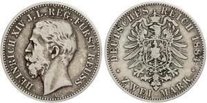 2 Mark Principality of Reuss-Greiz (1778 - 1918) Silver Heinrich XIV, Prince Reuss Younger Line