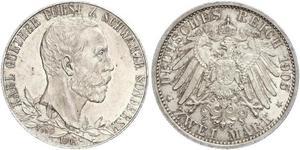 2 Mark Schwarzburg-Sondershausen (1599-1920) Silver