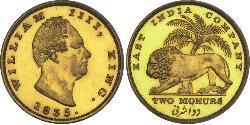2 Mohur Compagnia Inglese delle Indie Orientali (1757-1858) Oro Guglielmo IV (1765-1837)