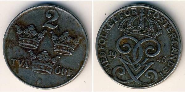 2 Ore Suecia Acero Gustavo V de Suecia (1858 - 1950)