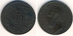 2 Ore Sweden Copper Charles XV of Sweden (1826 - 1872)