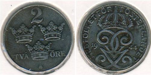 2 Ore Schweden Stahl Gustav V. (Schweden) (1858 - 1950)