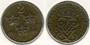 2 Ore Sweden Steel Gustaf V of Sweden (1858 - 1950)