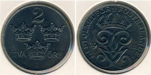2 Ore Sweden Steel Gustaf V of Sweden (1858 - 1950)