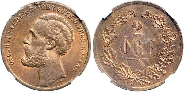 2 Ore United Kingdoms of Sweden and Norway (1814-1905)  Oscar II of Sweden (1829-1907)