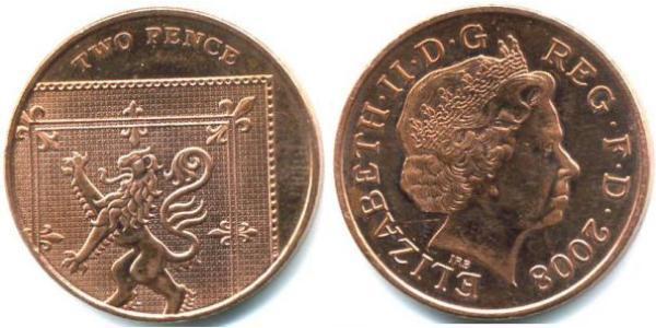 2 Penny Feriind Kiningrik (1922-) Cuivre/Acier Elizabeth II (1926-)