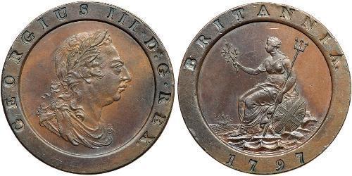 2 Penny Regno Unito di Gran Bretagna (1707-1801) Rame Giorgio III (1738-1820)
