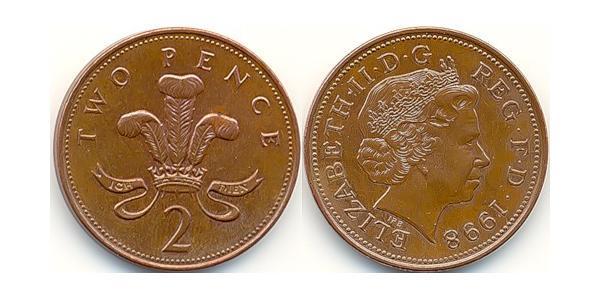 2 Penny Reino Unido (1922-)  Isabel II (1926-)