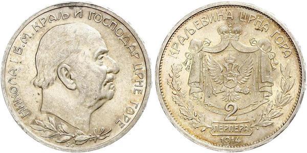 2 Perper  Montenegro Silver Nicholas I of Montenegro