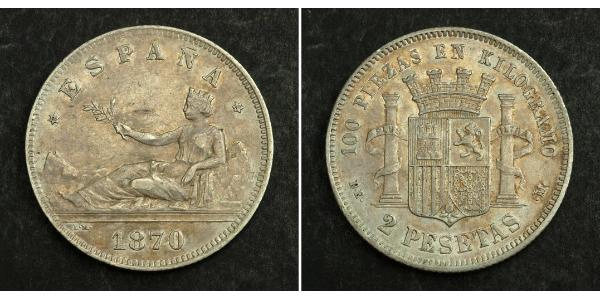 2 Peseta 西班牙第一共和國 (1873 - 1874) 銀