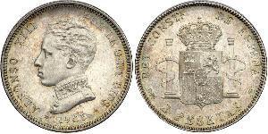 2 Peseta Kingdom of Spain (1874 - 1931) 銀 阿方索十三世 (1886 - 1941)