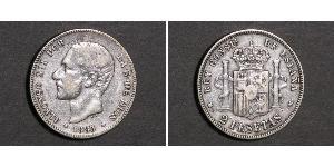 2 Peseta Kingdom of Spain (1874 - 1931) 銀 Alfonso XII of Spain (1857 -1885)