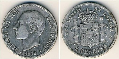 2 Peseta Kingdom of Spain (1874 - 1931) Argent Alfonso XII of Spain (1857 -1885)