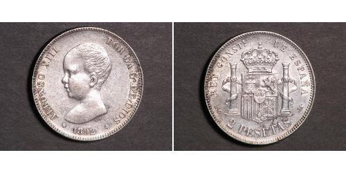 2 Peseta Kingdom of Spain (1874 - 1931) Argento Alfonso XIII of Spain (1886 - 1941)