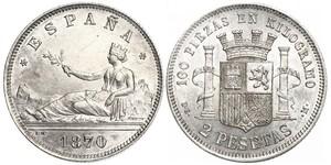2 Peseta Prima repubblica spagnola (1873 - 1874) Argento