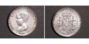 2 Peseta Kingdom of Spain (1874 - 1931) Plata Alfonso XIII of Spain (1886 - 1941)
