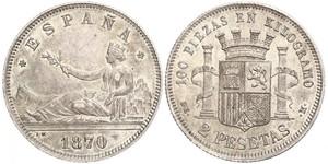 2 Peseta Erste Spanische Republik (1873 - 1874) Silber