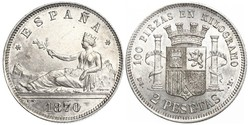 2 Peseta First Spanish Republic (1873 - 1874) Silver
