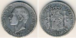 2 Peseta Kingdom of Spain (1874 - 1931) Silver