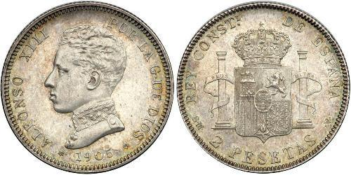 2 Peseta Kingdom of Spain (1874 - 1931) Silver Alfonso XIII of Spain (1886 - 1941)