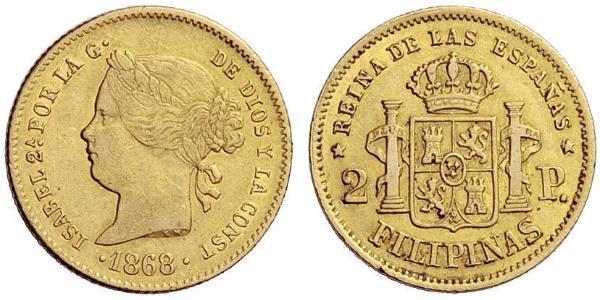 2 Peso Kingdom of Spain (1814 - 1873) / Philippines Or Isabella II of Spain (1830- 1904)
