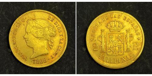 2 Peso Filipinas / Kingdom of Spain (1814 - 1873) Oro Isabella II of Spain (1830- 1904)