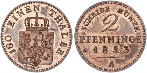 2 Pfennig 普魯士王國 (1701 - 1918) 銅 腓特烈·威廉四世 (1795 - 1861)