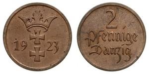 2 Pfennig Gdansk (1920-1939) Bronce