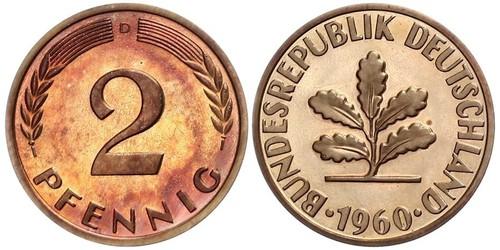 2 Pfennig Geschichte der Bundesrepublik Deutschland (1949-1990) Bronze