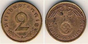 2 Pfennig Troisième Reich (1933-1945) Bronze