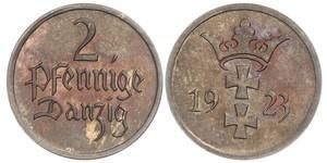2 Pfennig Gdansk (1920-1939) Bronzo