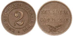 2 Pfennig Nueva Guinea / Imperio alemán (1871-1918) Cobre