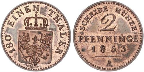 2 Pfennig Reino de Prusia (1701-1918) Cobre Federico Guillermo IV de Prusia (1795 - 1861)