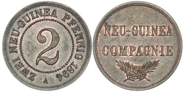 2 Pfennig German Empire (1871-1918) / New Guinea Copper