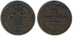 2 Pfennig States of Germany Copper