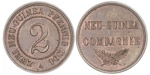 2 Pfennig Deutsches Kaiserreich (1871-1918) / Neuguinea Kupfer