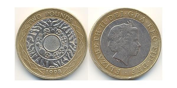 2 Pound Vereinigtes Königreich (1922-) Bimetall Elizabeth II (1926-)